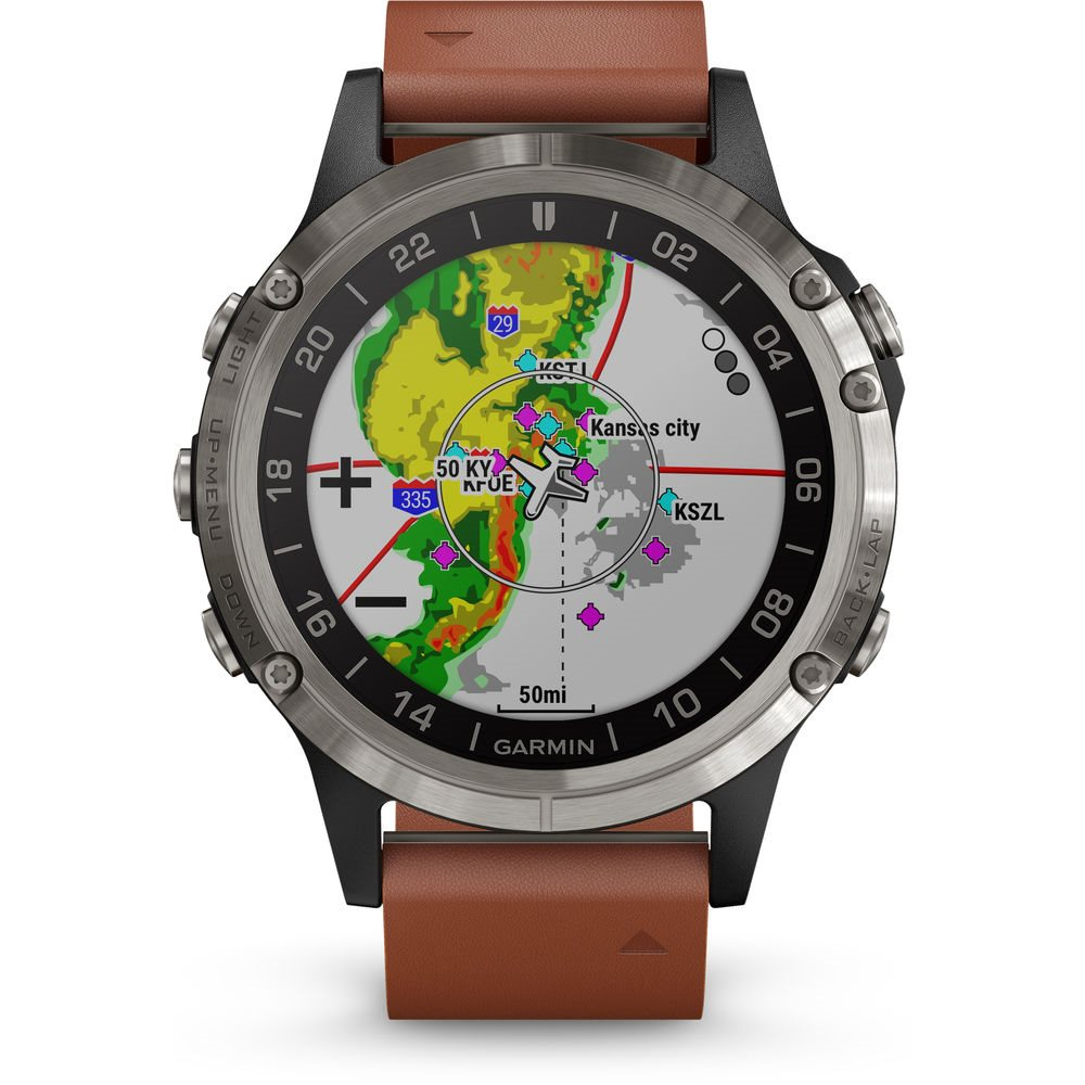 Garmin D2 Delta Aviator Watch with Brown Leather Band