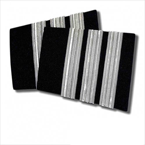 Black Epaulet 3 Bar Silver