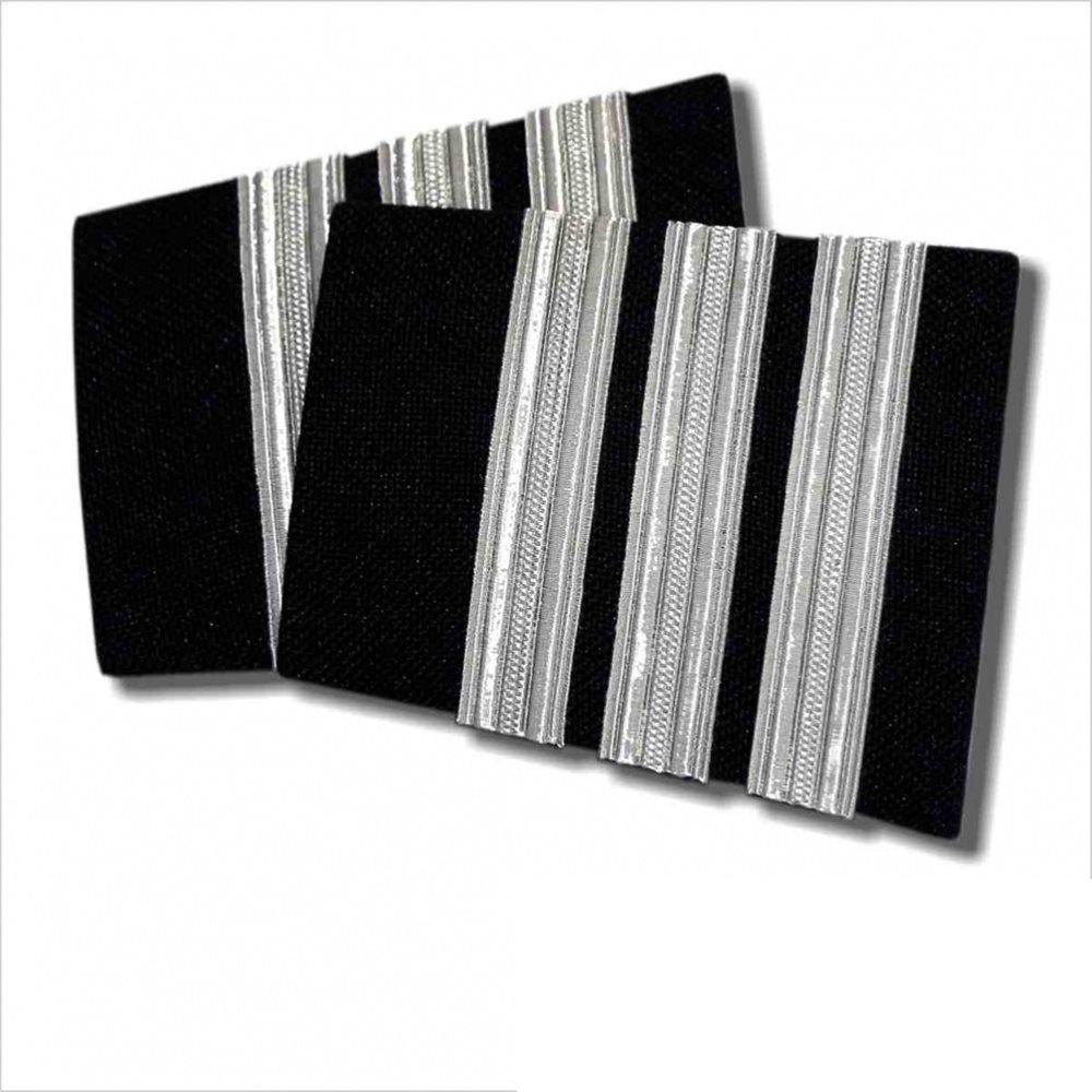 Navy Epaulet 3 Bar Silver