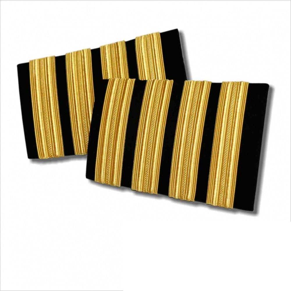 Navy Epaulet - 4 Bar  Gold