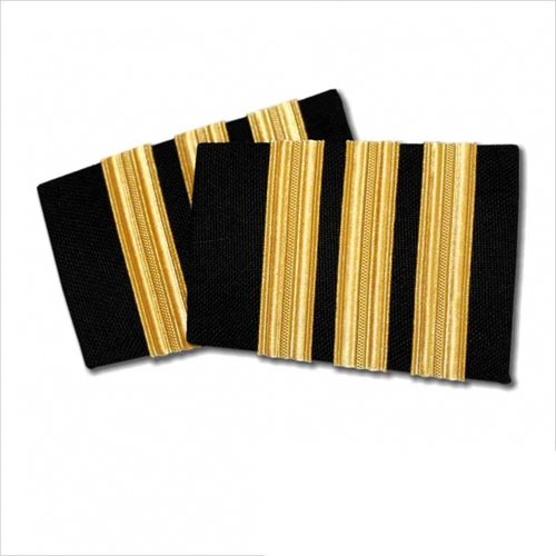 Black Epaulet 3 Bar Gold